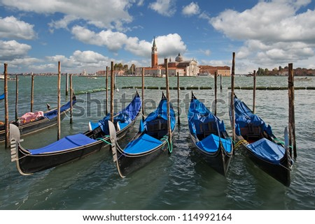gondolas in venice, italy - stock photo