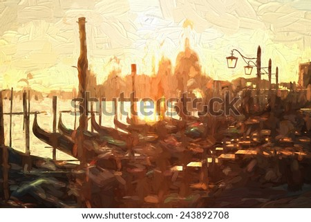 Gondolas in Venice, Italy, Oil painting - stock photo