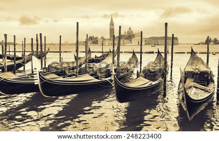 Gondolas in Venice, Italy. Retro style toned image - stock photo