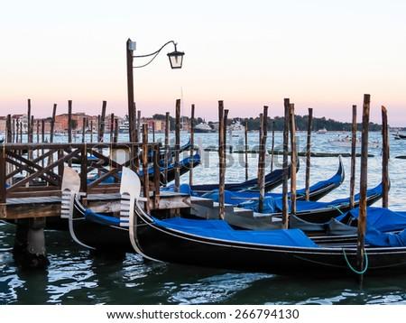Gondolas in Venice lagoon, Venice, Italy - stock photo