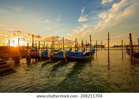 gondolas moored at san marco square. Venice. Italy.   - stock photo
