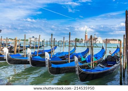 Gondolas moored near San Marco square in Venice. Italy - stock photo