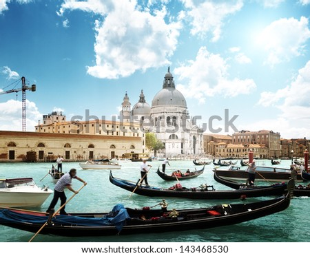 gondolas on Canal and Basilica Santa Maria della Salute, Venice, Italy - stock photo