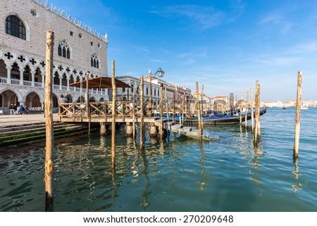Gondolas on Grand Canal in Venice, Italy - stock photo