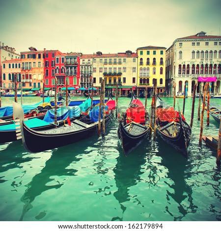 Gondolas on Grand Canal, Venice, Italy. Retro style - stock photo