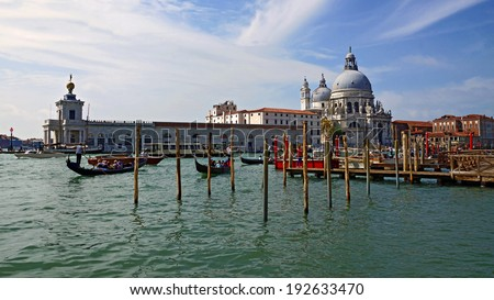 gondolas on the Grand Canal in Venice - stock photo