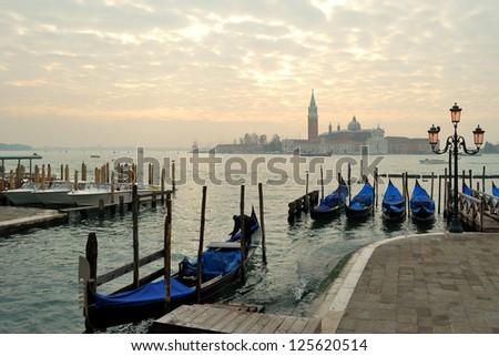 Gondolas on the Venetian Lagoon - stock photo