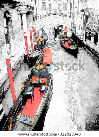Gondolas on Venice. Digital illustration in draw, sketch style - stock photo