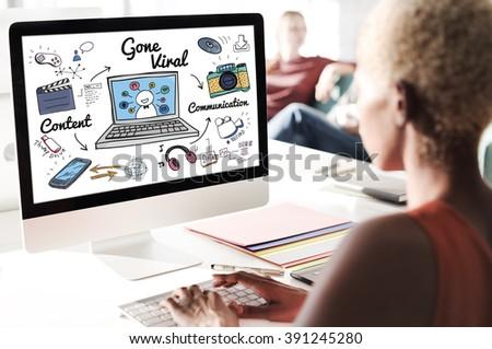 Gone Viral Cyber MultiMedia Internet Technology Concept - stock photo