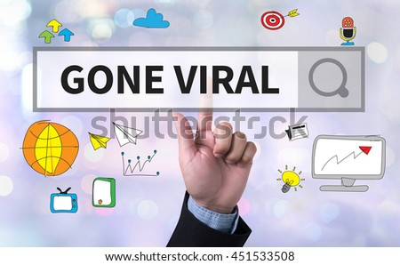 GONE VIRAL man pushing (touching) virtual web browser address bar or search bar on blurred abstract background - stock photo
