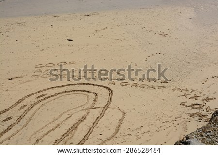 Good Afternoon Message written in the sand on beach at Saint Ives, Cornwall, England - stock photo