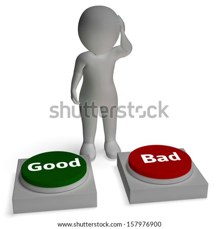 Good Bad Buttons Shows Approval Or Rejection