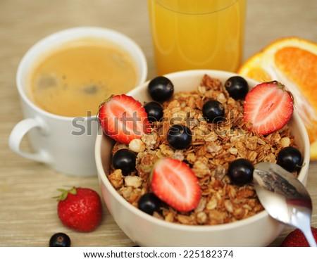 good breakfast for morning - muesli amd coffe. - stock photo
