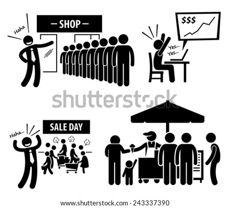Good Business Day Stick Figure Pictogram Icons - stock photo