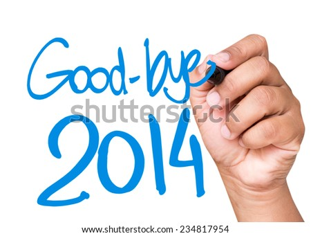 Good-Bye 2014 written on a transparent board - stock photo