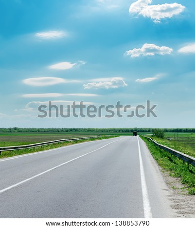 good cloudy sky and road to horizon - stock photo