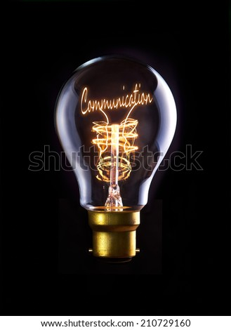 Good Communication concept in a filament lightbulb. - stock photo