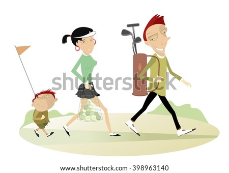 Good day for playing golf. Smiling man, woman and a boy are going to play golf  - stock photo