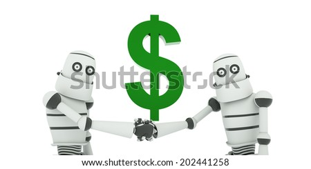 Good financial deal, robots shake hands against the green dollar sign, 3d render - stock photo
