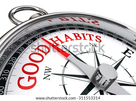 good habits red message on conceptual compass, isolated on white background - stock photo