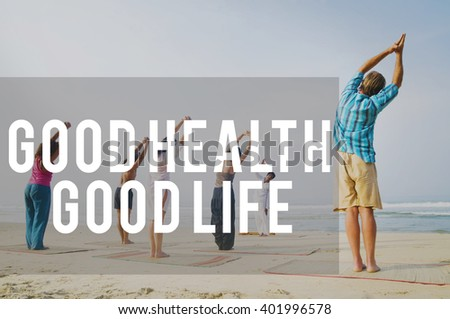 Good Health Good Life Lifestyle Nutrition Exercise Concept - stock photo