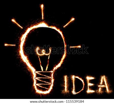 Good idea. Lamp. - stock photo