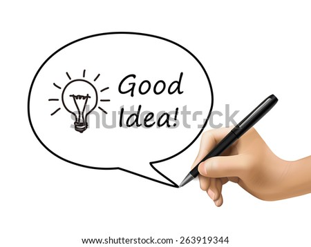good idea words with lighting bulb in speech bubble written by 3d hand - stock photo