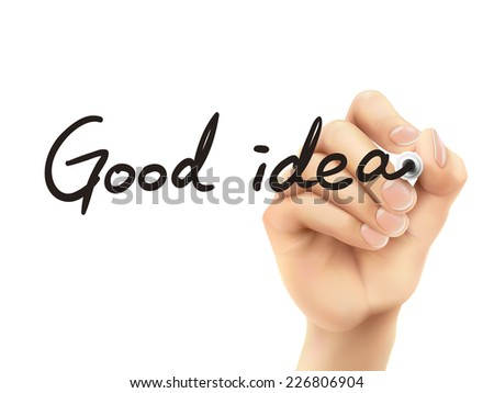 good idea words written by 3d hand over white background - stock photo