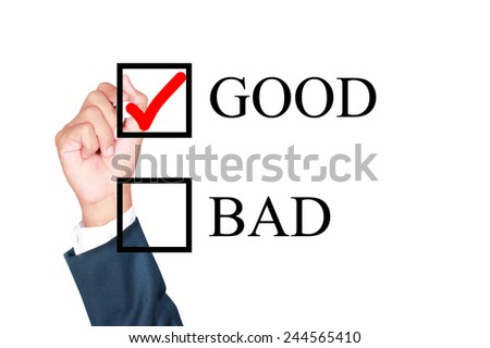 good is answer choose by businessman tick choice whiteboard white background - stock photo