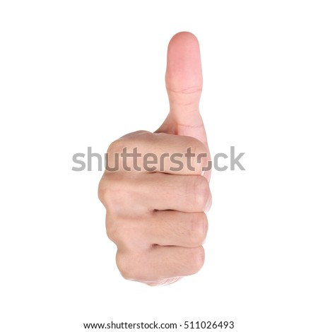 Good job, Man show thump up isolated on white background. Clipping path.