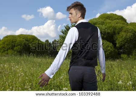 Good looking beautiful young man - stock photo