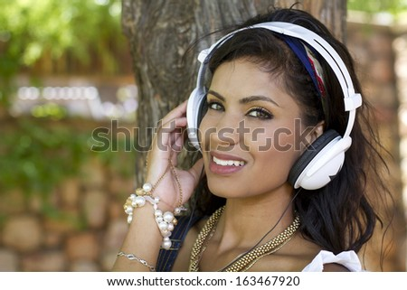 Good looking girl with headphones