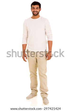 good looking indian man full length portrait - stock photo