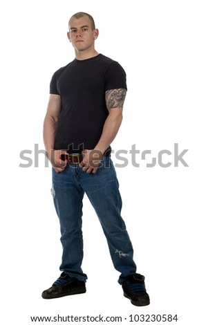good looking male in jeans poses - stock photo