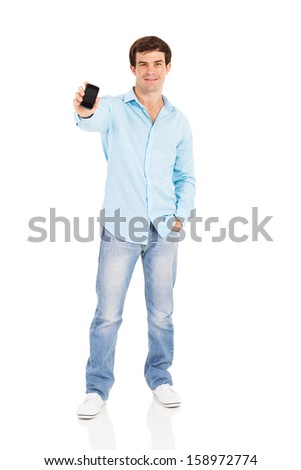 good looking man showing his cell phone on white background - stock photo