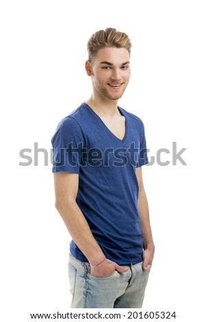 Good looking young man smiling with hands in the pockets, isolated on white background