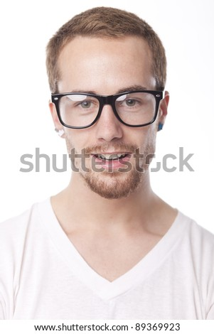 Good Looking Young Man With Retro Nerd Glasses, Portrait on white