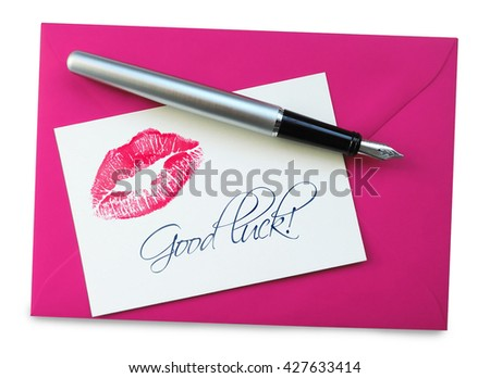 good luck card, isolated on white - stock photo