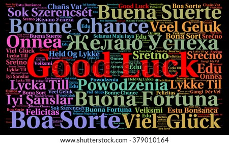 Good luck in different languages word cloud  - stock photo