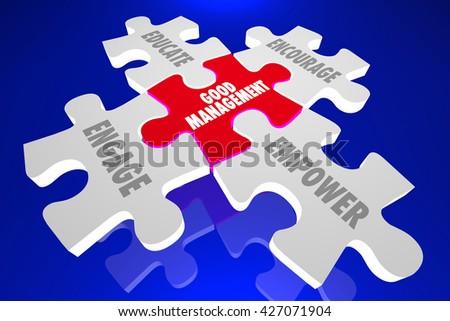 Good Management Engage Encourage Empower Puzzle Words 3d Illustration - stock photo