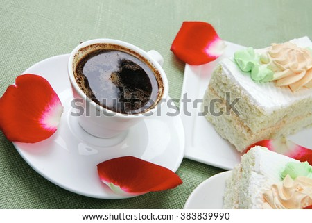 good morning : cake with whipped cream served with black coffee cup - stock photo