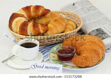 Good morning card with continental breakfast