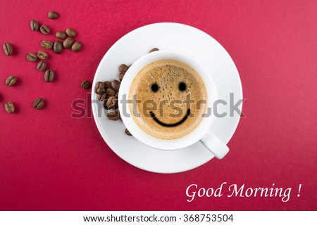 Good morning coffee cup background - stock photo