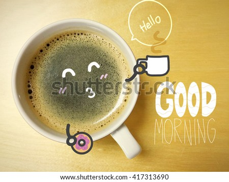 Good morning coffee cup on wood table - stock photo