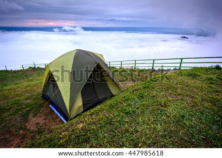 Good morning mist wave on mountain  and Camping Phu Thap Boek Thailand
