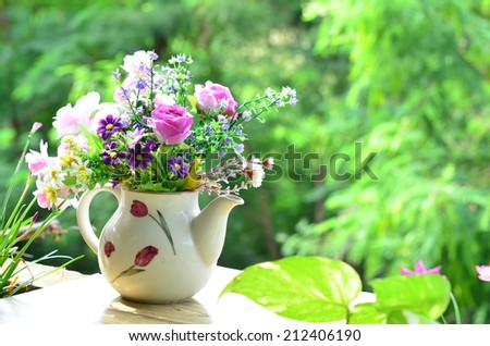 Good morning with bouquet of flowers  - stock photo