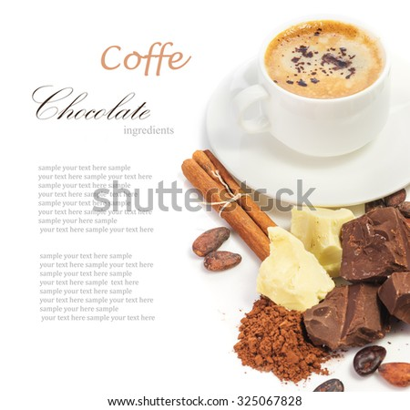 good morning with cup of hot coffee and ingredients for making chocolate, composition, closeup