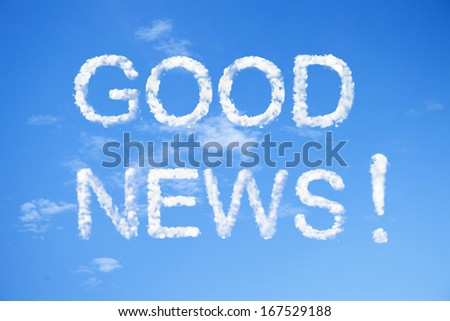 Good news clouds word on sky. - stock photo