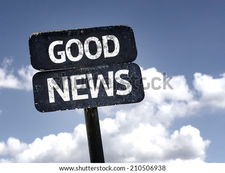 Good News sign with clouds and sky background  - stock photo