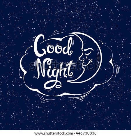 good night letters handdrawn style vector stock vector 415574809
